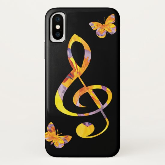 Modern watercolor treble clef and butterflies iPhone XS case