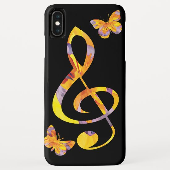 Modern watercolor treble clef and butterflies iPhone XS max case