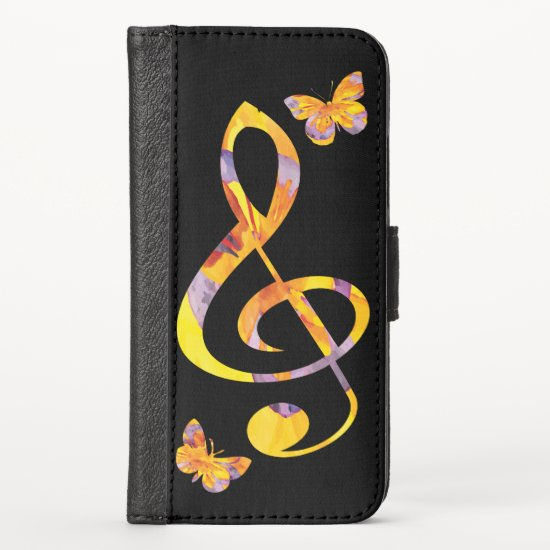 Modern watercolor treble clef and butterflies iPhone XS wallet case