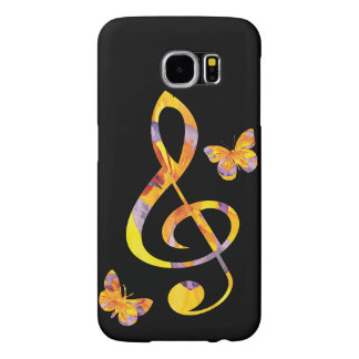Modern watercolor treble clef and butterflies samsung galaxy s6 case