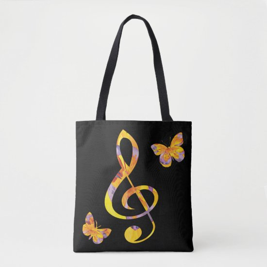 Modern watercolor treble clef and butterflies tote bag
