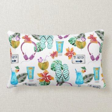 Beach Themed Modern Watercolor Tropical Beach Pattern Lumbar Pillow