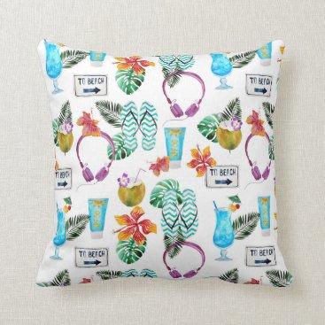 Beach Themed Modern Watercolor Tropical Beach Pattern Throw Pillow