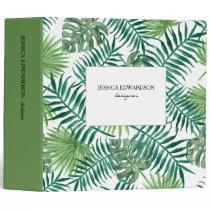 Modern watercolor tropical leaves pattern personal 3 ring binder