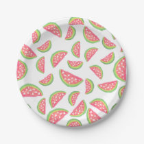 Modern watercolor watermelon fruits pattern paper plate