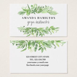 Modern Watercolor wild meadow green foliage Business Card
