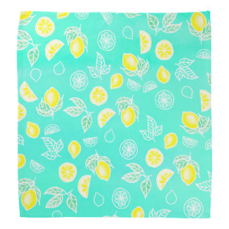 Modern watercolor yellow lemons fruits mint green bandana