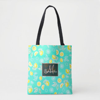 Modern watercolor yellow lemons fruits mint green tote bag