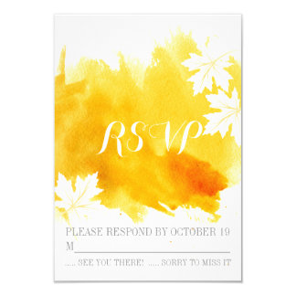 Modern watercolor yellow wedding RSVP reply 3.5x5 Paper Invitation Card