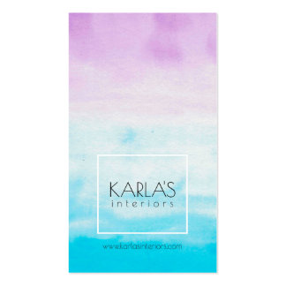 Modern Watercolors background Interior Design Business Card