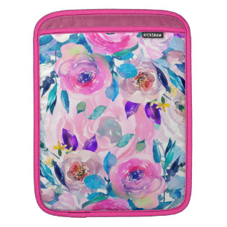 Modern Watercolors Colorful Flowers Collage Sleeve For iPads