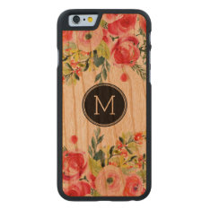Modern Watercolors Colorful Flowers Monogram Carved Cherry Iphone 6 Case at Zazzle
