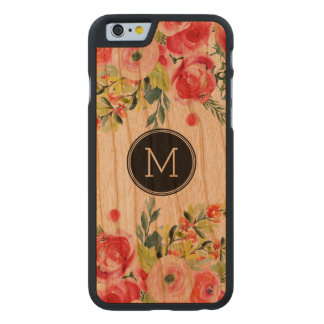 Modern Watercolors Colorful Flowers Monogram Carved Cherry iPhone 6 Case
