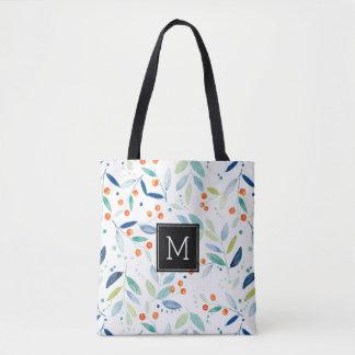 Modern Watercolors Illustration Botanical Pattern Tote Bag