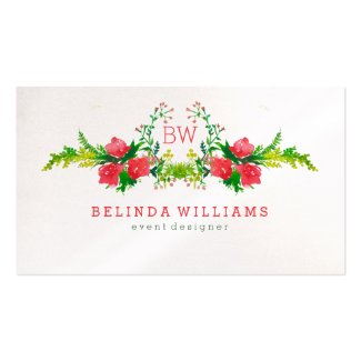 Modern Watercolors Pink Flowers Illustration Double-Sided Standard Business Cards (Pack Of 100)