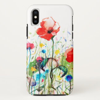 Modern Watercolors Red Poppy's & Spring Flowers iPhone X Case