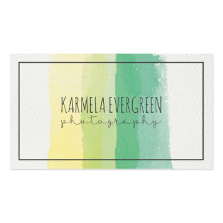 Modern Watercolors Stripes Photograph Template Business Card