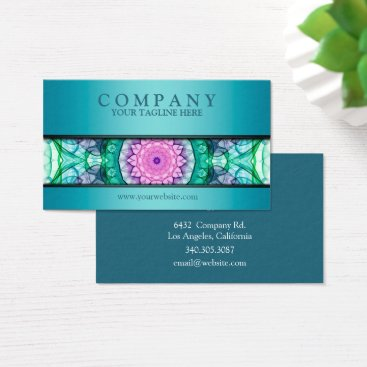 WavingFlames modern WaterLily mandala teal Business Card