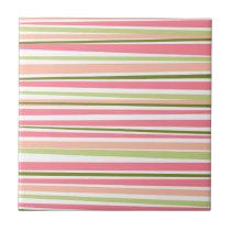 Modern watermelon colors stripes pattern ceramic tile