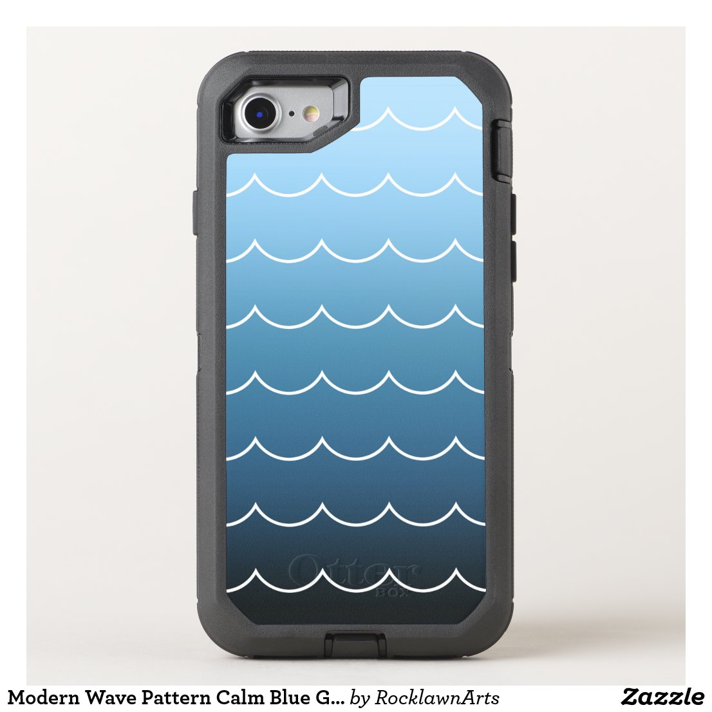 Modern Wave Pattern Calm Blue Gradient OtterBox Defender iPhone 8/7 Case
