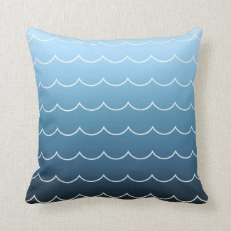 Modern Wave Pattern Light Blue to Navy Gradient Throw Pillow