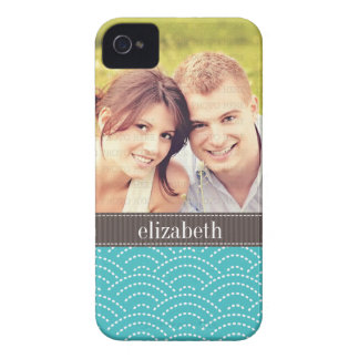 Modern Waves Pattern Photo Personalized iPhone 4 Case-Mate Case