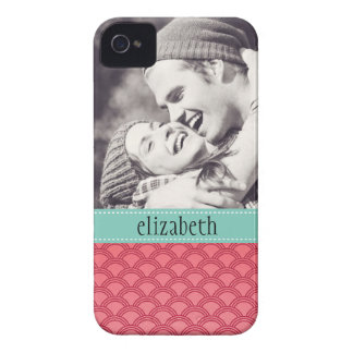 Modern Waves Pattern Photo Personalized iPhone 4 Cover