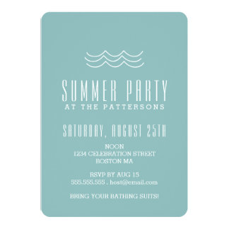 Modern Waves Summer Pool Party Invitation