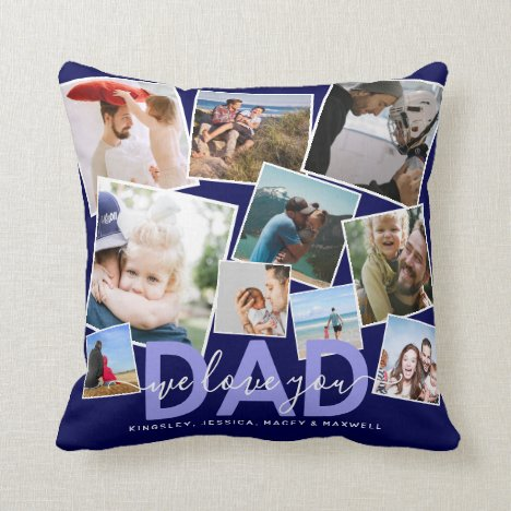 Modern 'We Love You' Photo Collage Dad Throw Pillow