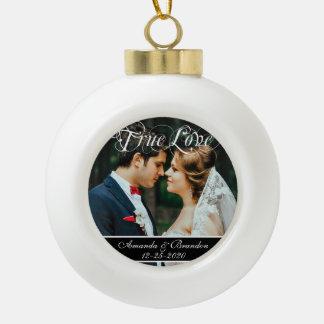 Modern Wedding Anniversary Christmas Ball Ornament