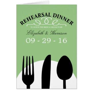 Modern Wedding Black Cutlery Rehearsal Dinner Card