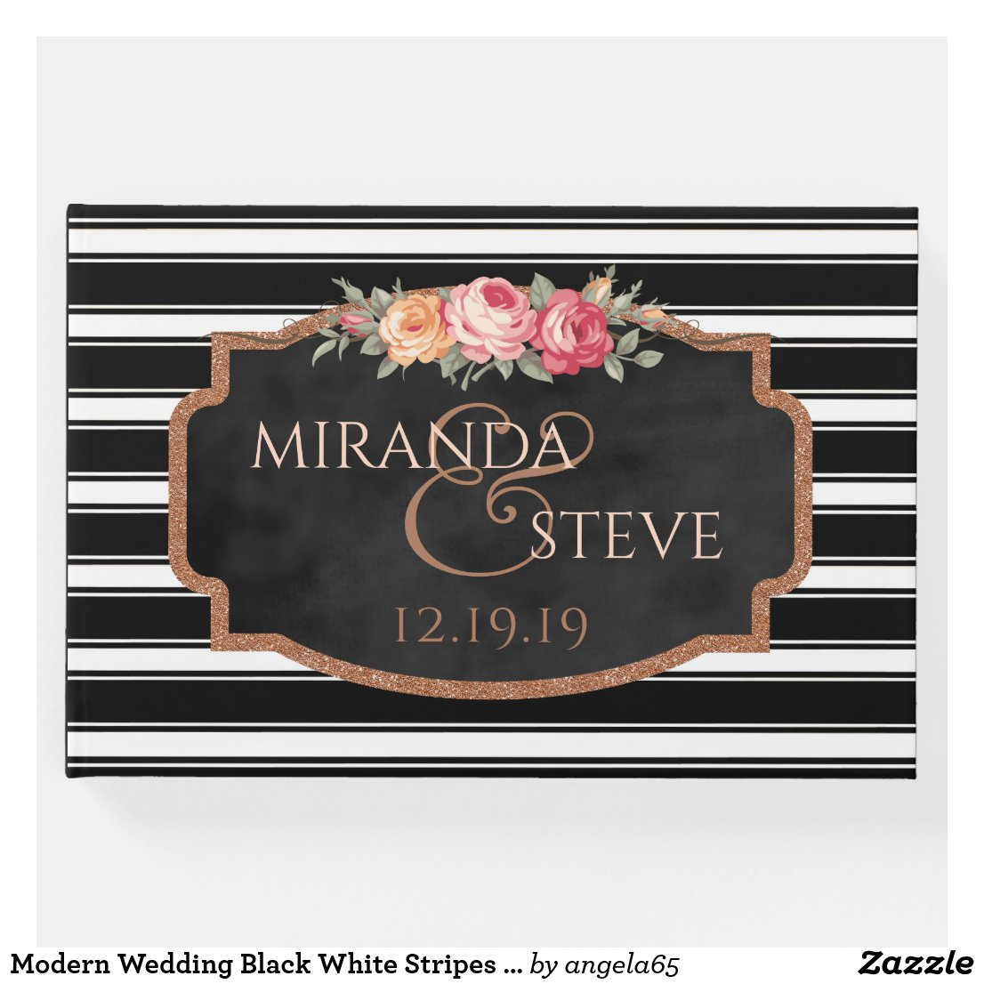 Modern Wedding Black White Stripes | Rose Gold Guest Book