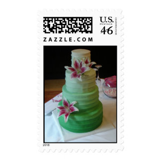 Modern wedding cake with fondant color gradient postage