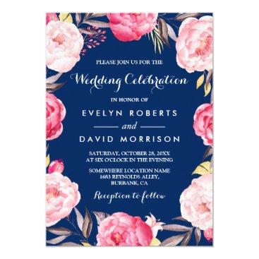 celebration Modern Wedding Celebration Floral Wreath Navy Blue Card