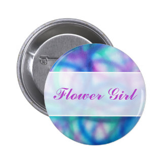 Modern Wedding. Colorful Abstract. Flower Girl Pinback Button