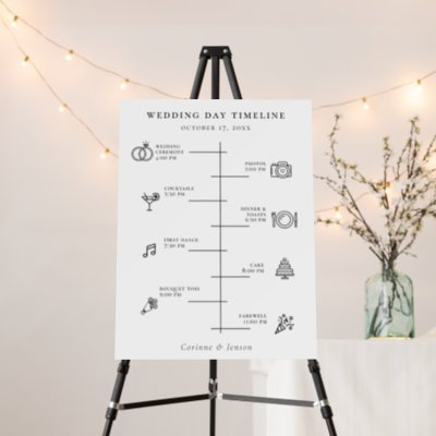 Modern Wedding Day Icons Timeline Foam Board