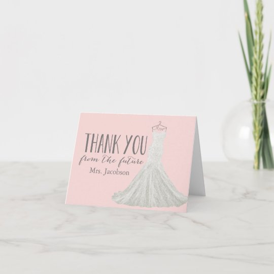 modern wedding dress bridal shower thank you