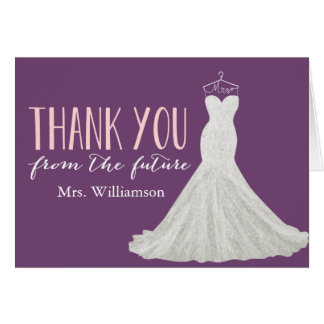 modern wedding dress bridal shower thank you card