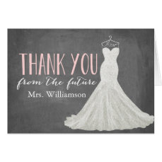 Modern Wedding Dress   Bridal Shower Thank You Card
