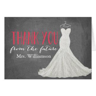 Modern Wedding Dress | Bridal Shower Thank You Red Card
