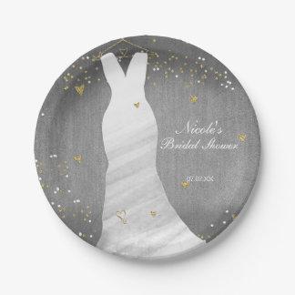 Modern Wedding Dress Confetti Hearts Bridal Shower Paper Plate