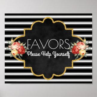 Modern Wedding Favors Sign | Stripes Vintage Roses