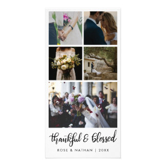 Modern Wedding Five Photos Thankful And Blessed Card