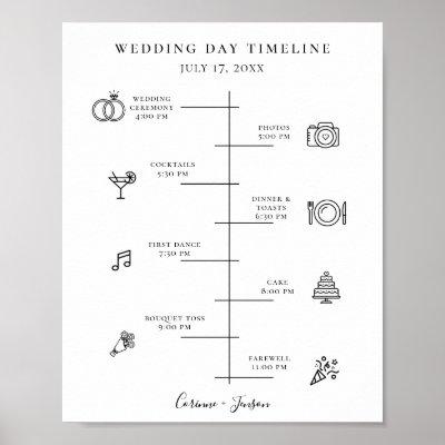 Modern Wedding Icons Timeline Program Poster