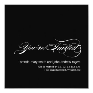 Modern Wedding Invitation Cards Black White