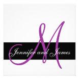 Modern Wedding Invitation Monogram Purple