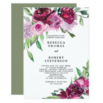 modern wedding invitation purple marsala floral