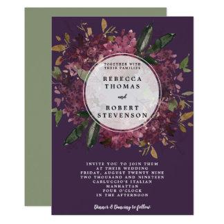 modern wedding invitation purple mauve floral