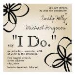 Modern Wedding Invite - Tan & Black I Do & Flowers