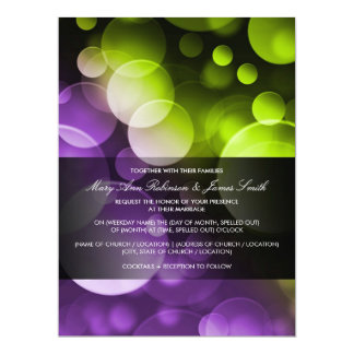 Modern Wedding Lights at Night Purple Lime Card